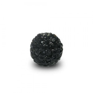 6mm Jet on Black Plate Pave Ball