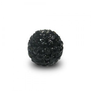 8mm Jet on Black Plate Pave Ball