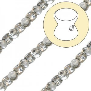 4x6mm Crystal Silver Pellet Czech Glass Beads - 7 Inch Strand (Apx 44 Beads)