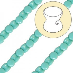 4x6mm Green Turquoise Pellet Czech Glass Beads - 7 Inch Strand (Apx 44 Beads)