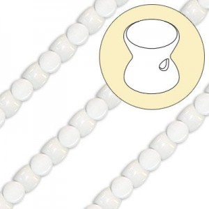 4x6mm White Alabaster Pellet Czech Glass Beads - 7 Inch Strand (Apx 44 Beads)