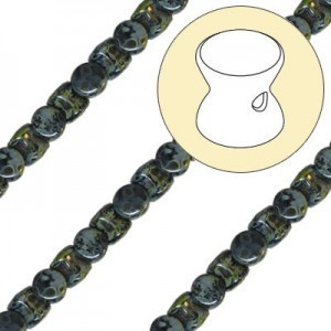4x6mm Jet Picasso Pellet Czech Glass Beads - 7 Inch Strand (Apx 44 Beads)