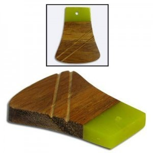 40x32mm Lime Green & Wood Bell Shape Fancy Combo Pendant 5 Pcs