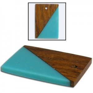 38x26mm Turquoise & Wood Rectangle Fancy Combo Pendant 5 Pcs