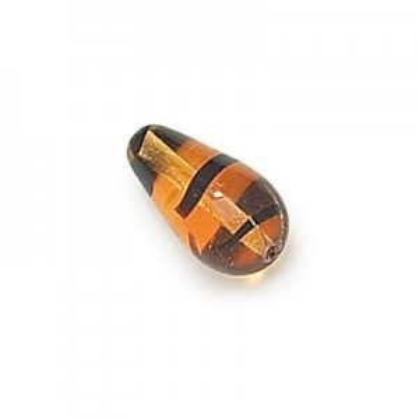 15x8mm Tortoise Shell Pressed Czech Glass Tear Drops Loose (150pc)