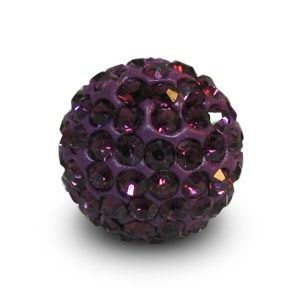 Disco Pave Round Beads 12mm Amethyst on Lightweight Epoxy Clay