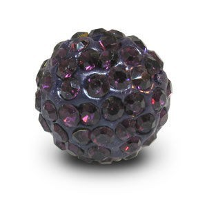 Disco Pave Round Beads 14mm Amethyst on Lightweight Epoxy Clay