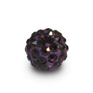 Disco Pave Round Beads 6mm Amethyst on Lightweight Epoxy Clay