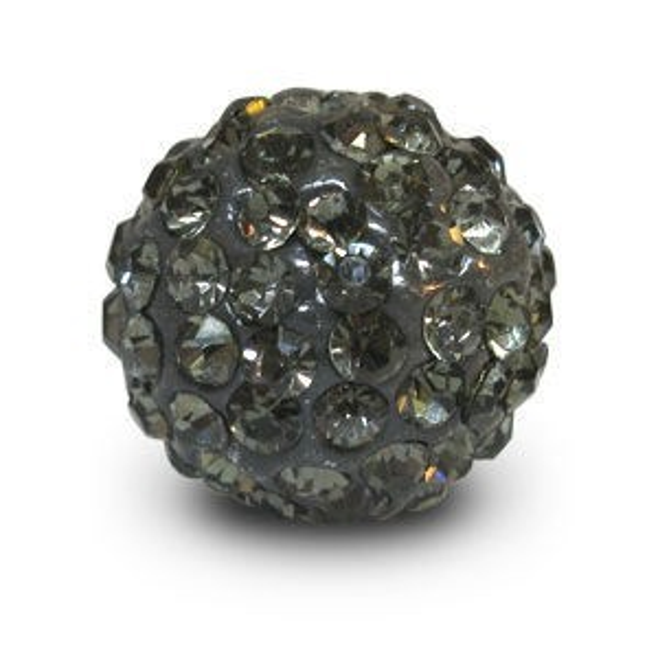 Disco Pave Round Beads 14mm Black Diamond on Lightweight Epoxy Clay