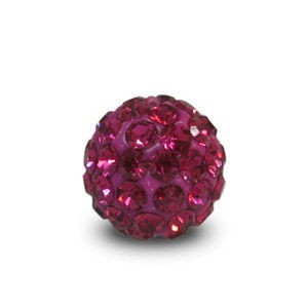 Disco Pave Round Beads 6mm Fuchsia on Lightweight Epoxy Clay