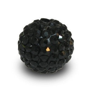 Disco Pave Round Beads 12mm Jet on Lightweight Epoxy Clay