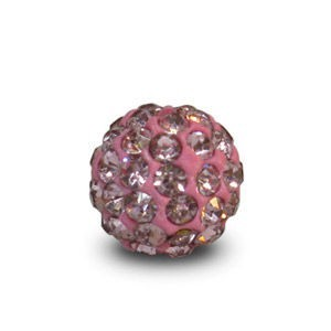 Disco Pave Round Beads 6mm Light Rose on Lightweight Epoxy Clay