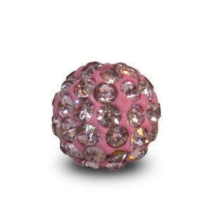 Disco Pave Round Beads 8mm Light Rose on Lightweight Epoxy Clay