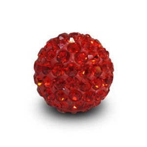 Disco Pave Round Beads 10mm Red on Lightweight Epoxy Clay