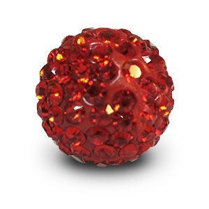 Disco Pave Round Beads 14mm Red on Lightweight Epoxy Clay