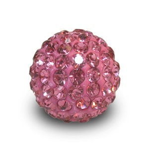 Disco Pave Round Beads 12mm Rose on Lightweight Epoxy Clay