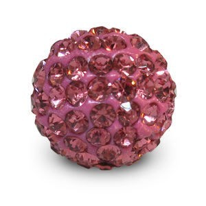 Disco Pave Round Beads 14mm Rose on Lightweight Epoxy Clay