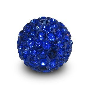 Disco Pave Round Beads 12mm Sapphire on Lightweight Epoxy Clay