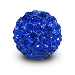 Disco Pave Round Beads 14mm Sapphire on Lightweight Epoxy Clay