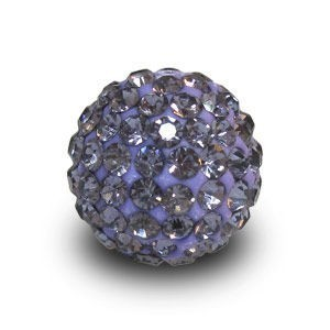 Disco Pave Round Beads 12mm Violet on Lightweight Epoxy Clay
