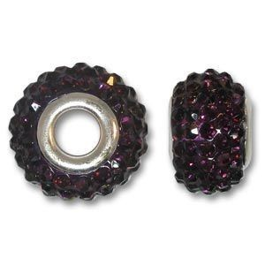 14x10mm Pave Bead Large 4mm Hole Amethyst Silver Plated Core