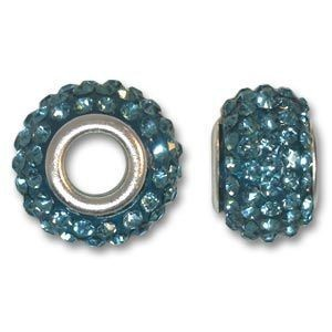 14x10mm Pave Bead Large 4mm Hole Aqua Silver Plated Core
