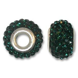 14x10mm Pave Bead Large 4mm Hole Emerald Silver Plated Core