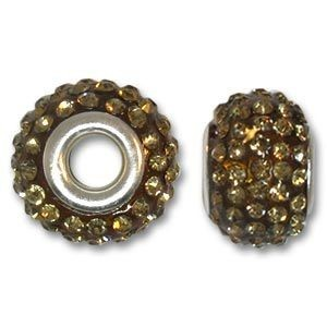 14x10mm Pave Bead Large 4mm Hole Light Colorado Topaz Silver Plated Core