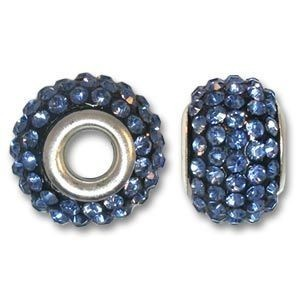 14x10mm Pave Bead Large 4mm Hole Light Sapphire Silver Plated Core