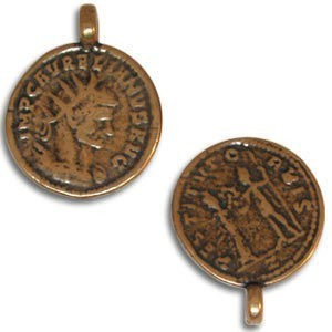 18mm 2-Sided Coin Pendant Pewter W/ Ant Copper Finish 2 Pcs