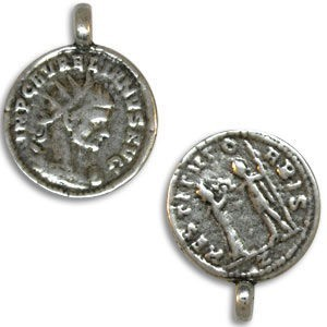 18mm 2-Sided Coin Pendant Pewter W/ Ant Silver Finish 2 Pcs
