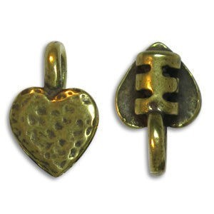 7.5 X 11.75mm End Crimp W/ Ring & Heart Ornament 2mm Id Pewter W/ Ant Brass Finish 10 Pcs
