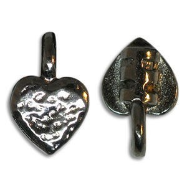 7.5 X 11.75mm End Crimp W/ Ring & Heart Ornament 2mm Id Pewter W/ Ant Gun Metal Finish 10 Pcs