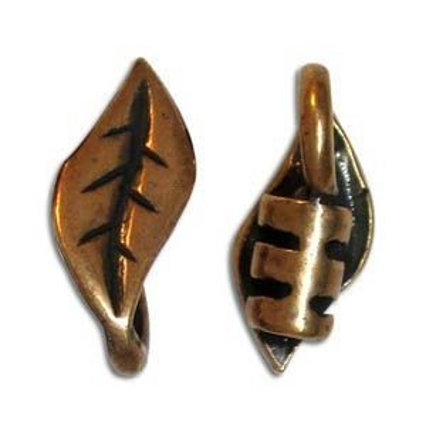 5.5 X 15mm End Crimp W/ Ring & Leaf Ornament 2mm Id Pewter W/ Ant Copper Finish 10 Pcs