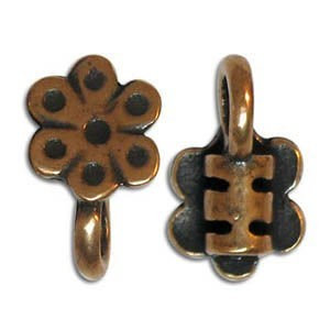 6.75x11.75mm End Crimp W/ Ring & Flower Ornament 2mm Id Pewter W/ Ant Copper Finish 10 Pcs