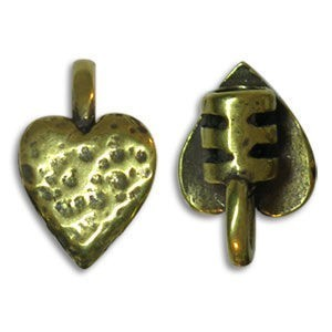 8.75x13.5mm End Crimp W/ Ring & Heart Ornament 3mm Id Pewter W/ Ant Brass Finish 10 Pcs