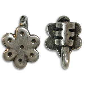 9.5x13.75mm End Crimp W/ Ring & Flower Ornament 3mm Id Pewter W/ Ant Silver Finish 10 Pcs