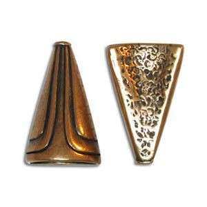 23x14mm Half Cone Pewter W/ Ant Copper Finish 4 Pcs