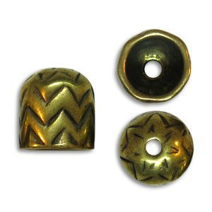 11.5mm End Cap 8mm Id Pewter W/ Ant Brass Finish 10 Pcs