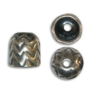 11.5mm End Cap 8mm Id Pewter W/ Ant Silver Finish 10 Pcs