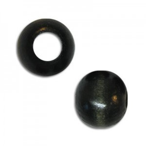 8mm Round Large Hole Wood Bead Black (Approx. 3.50mm Hole)