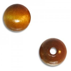 10mm Round Wood Bead Standard Hole Light Brown