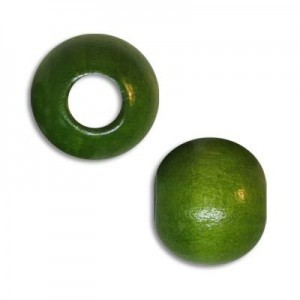 10mm Round Large Hole Wood Bead Green (Approx. 3.50mm Hole)