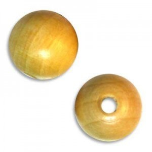 15mm Round Wood Bead Standard Hole Natural