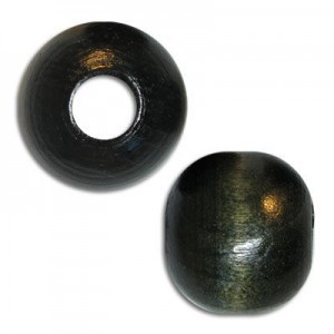 18mm Round Large Hole Wood Bead Black (Approx. 7mm Hole)