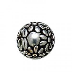 10mm Round Daisy Bead Antique Silver