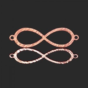 30x10mm Infinity 2 Ring Bar W/Brushed Finish Forever Rose Gold™ 5pcs