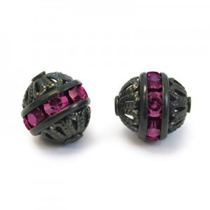 8mm Amethyst on Black Filigree Czech Rhinestone Ball