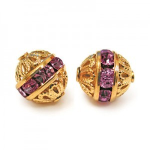 8mm Amethyst on Gold Filigree Czech Rhinestone Ball