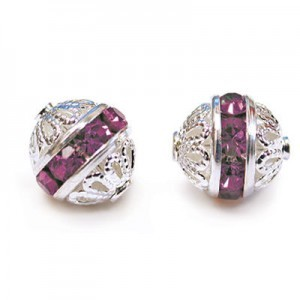 8mm Amethyst on Silver Filigree Czech Rhinestone Ball